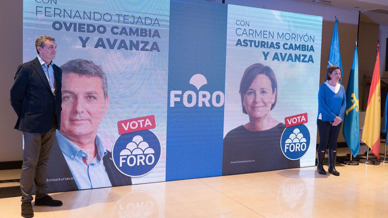 El candidato de Foro a la Alcaldía de Oviedo, Fernando Tejada, y la  candidata de Foro a la Presidencia del Principado, Carmen Moriyón en el primer acto de campaña para las municipales y autonómicas