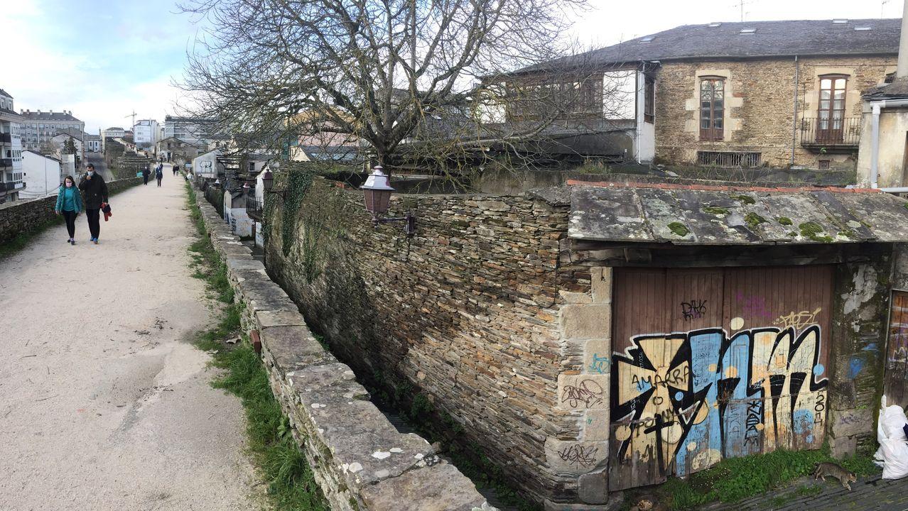 Los palacios de Lugo junto a la Muralla.Acceso al palacio por el portalón de la Rúa Falcón, pegada a la Muralla de Lugo