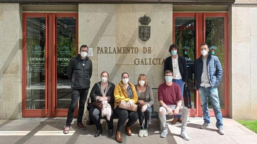 Los profesores del conservatorio de Monforte, a la entrada del Parlamento de Galicia