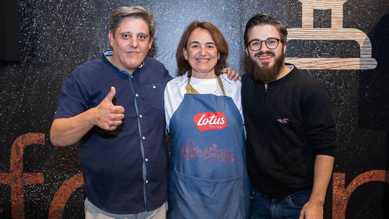 Los tres catadores, Manuel Ángel Menéndez, Marisa Baqué y Rufus Blad