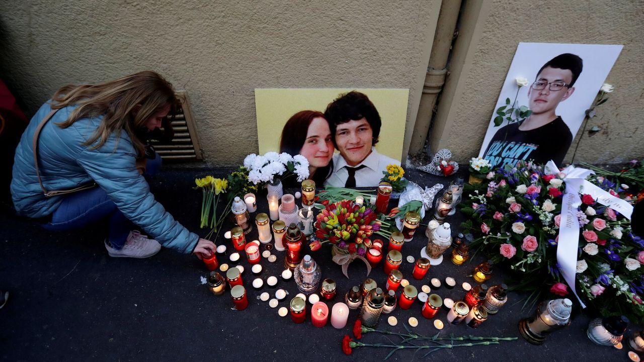 Los eslovacos se echaron a la calle para denunciar el crimen del periodista y su novia