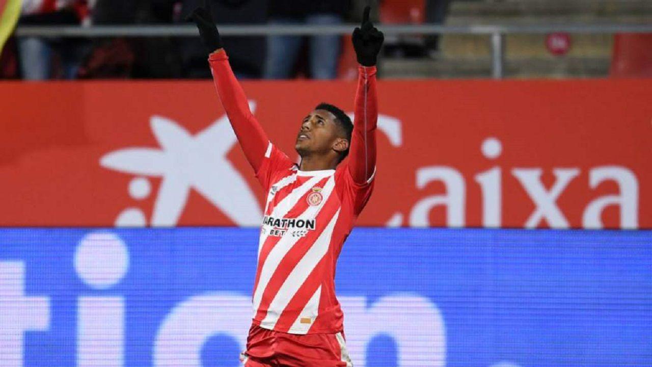 Folch Christian Fernandez Rocha Real Oviedo Huesca.Choco Lozano celebra un gol con el Girona