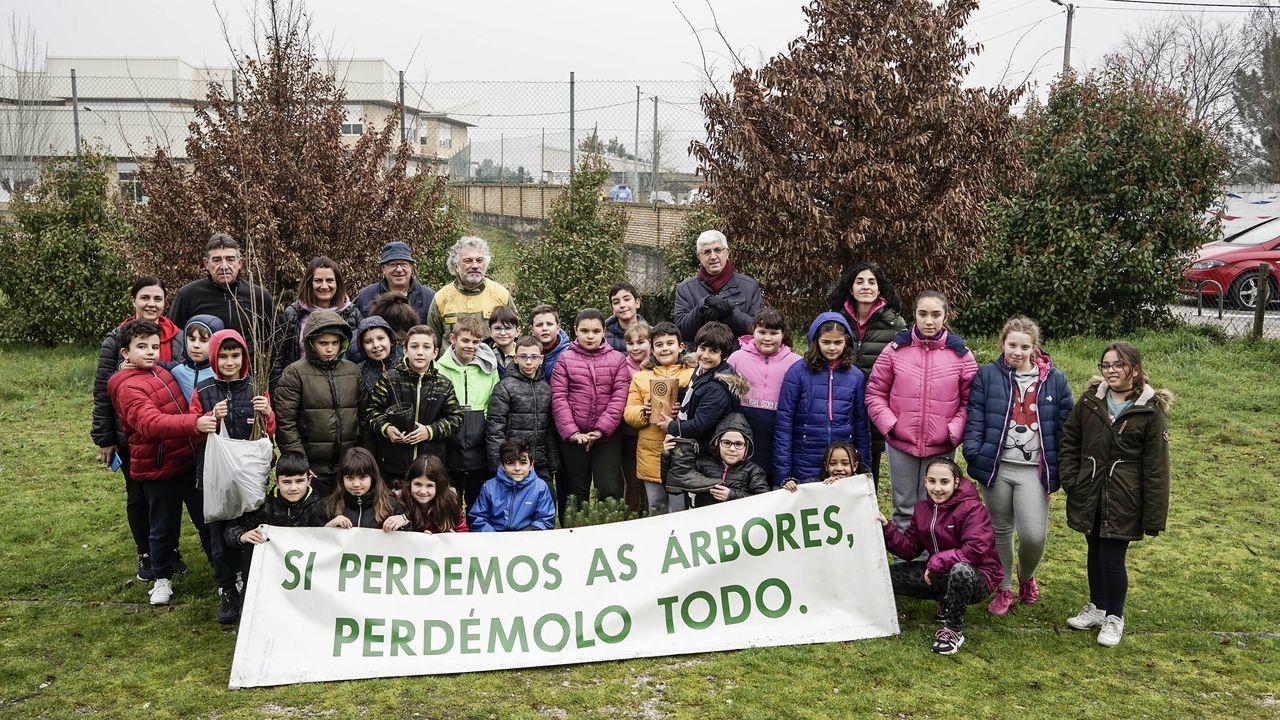 «Eu vou de superfeirón, ¿e ti?».Los alumnos del colegio de Seixalbo, en Ourense, estuvieron plantando en febrero