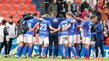 Los futbolistas azules celebran la victoria frente al Lugo