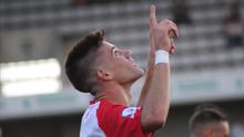 Ton Ripoll celebra un gol con L'Hospitalet