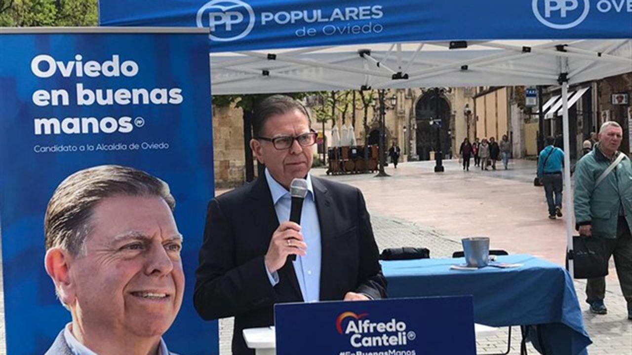 escuelas de infantil, centros de 0 a 3 años,.Alfredo Canteli, candidato del PP a la alcaldía de Oviedo