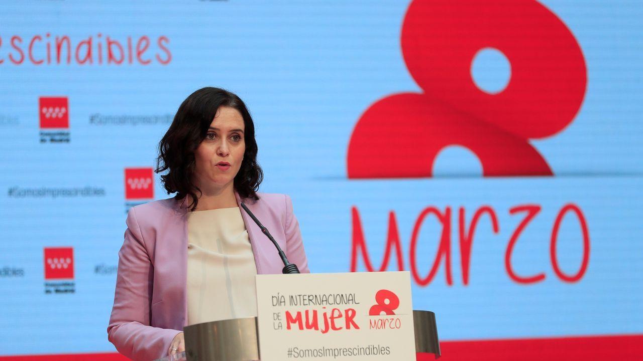 La presidente de la Comunidad de Madrid, Isabel Díaz Ayuso, durante un acto celebrado hoy.Díaz Ayuso, esta mañana