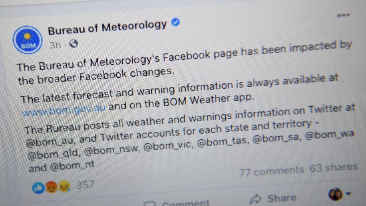 Facebook bloqueó en Australia el acceso a contenidos de los medios y de organismos oficiales como la información meteorológica