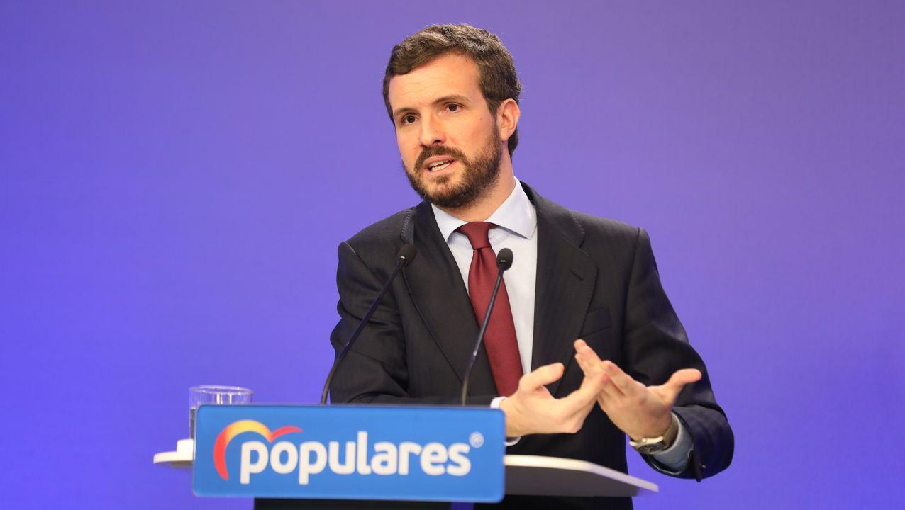 Rueda de prensa de Feijoo tras la reunión interdepartamental del coronavirus.Pedro Sánchez, durante la declaración institucional