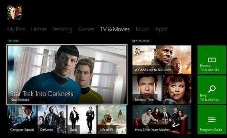 Así es la Xbox One.Imagen de la interfaz de la Xbox One: tele, juegos e Internet.