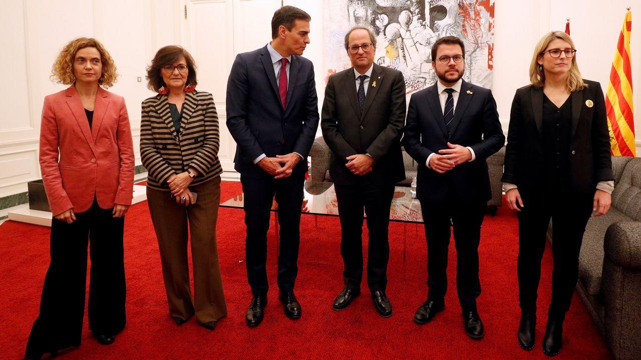 Sánchez y Torra se reunieron más de una hora por separado y después se sumaron, durante diez minutos, al encuentro de Batet y Calvo con los consellers Aragonès y Artadi