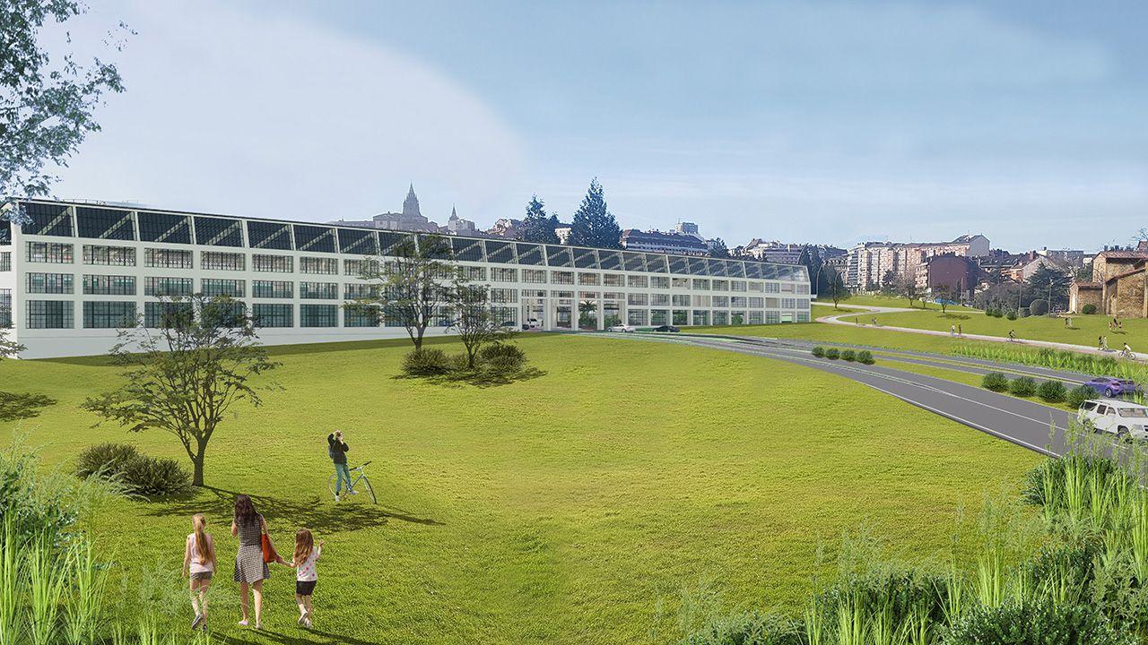 Primeras pisadas de la UDC en la fábrica de armas.Infografía del proyecto de entrada a Oviedo por la fábrica de armas de la Vega propuesto por el bipartito