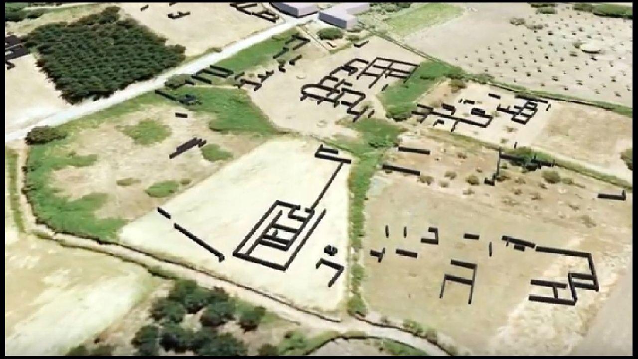 Restos de antiguas construcciones —marcadas en negro— localizadas por el georradar en el subsuelo de Proendos, en una captura de un vídeo divulgativo realizada por la empresa que se encargó de los sondeos