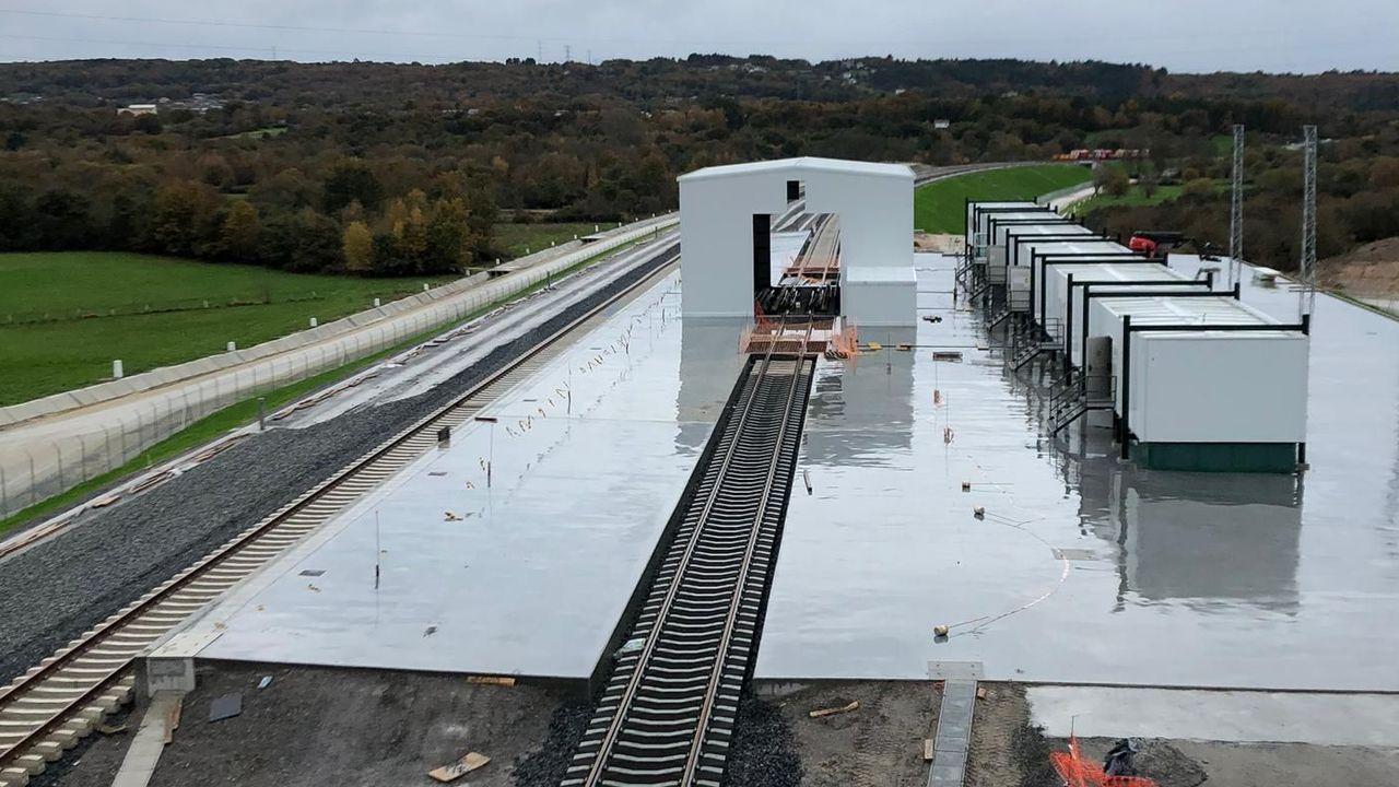 Cambiador de ancho de Taboadela, que estará en servicio cuando se termine la línea de alta velocidad a Galicia