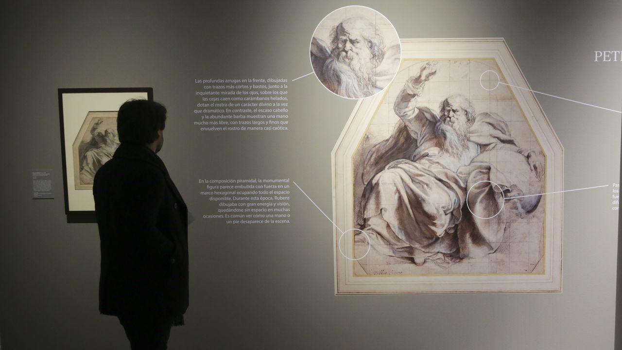 Jenny Holzer en Bilbao.Una obra de Rubens, «Dios padre», aparece ampliada y con explicaciones didácticas