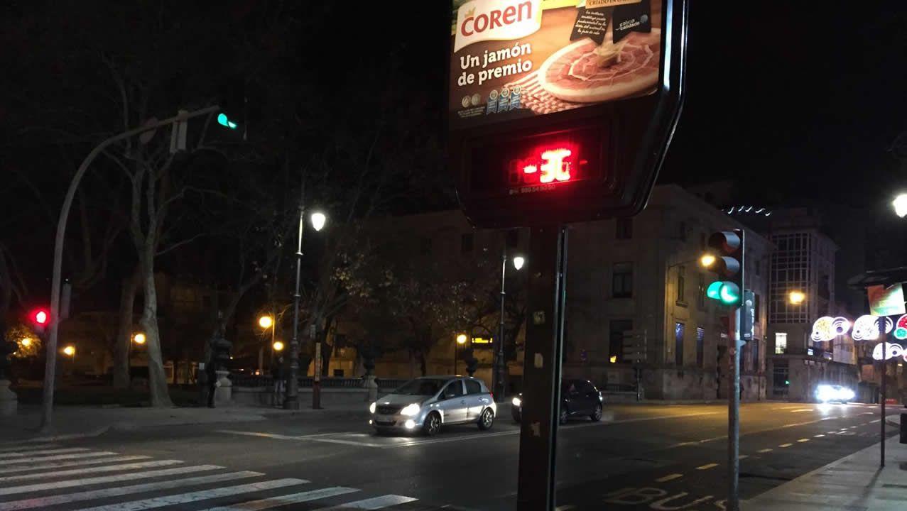 Termómetro en Ourense que registró a primera hora -3 grados