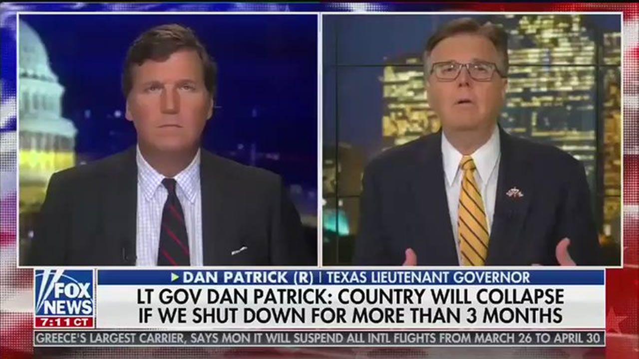 Dan Patrick (a la derecha), vicegobernador republicano de Texas, defendió en televisión que los abuelos deberían sacrificarse ante la pandemia con tal de no perjudicar la economía: «Creo que hay muchos más abuelos que se sienten como yo ahí afuera (...). No quiero que todo el país se sacrifique»