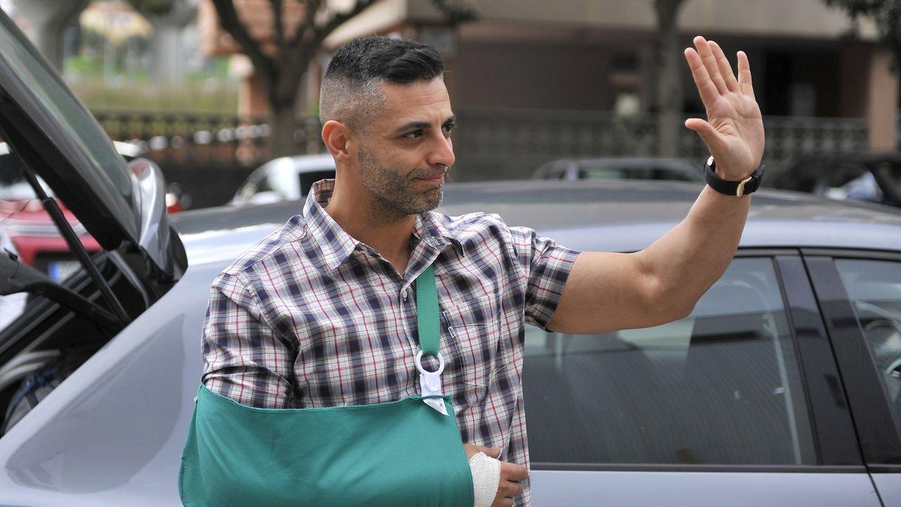 Ángel Manuel Hernández, en imagen de archivo, durante su llegada al cuartel de Lonzas, en A Coruña, tras haber sido herido en Barcelona, en octubre del 2019