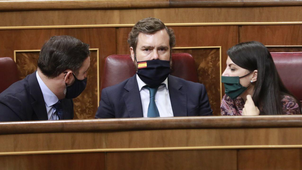 Pedro Sánchez,  durante el debate de la moción de censura de Vox