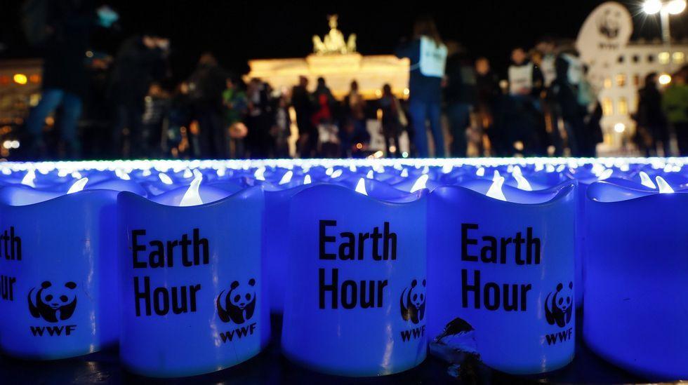 Día de la Tierra. Berlín, durante la Hora del planeta.
