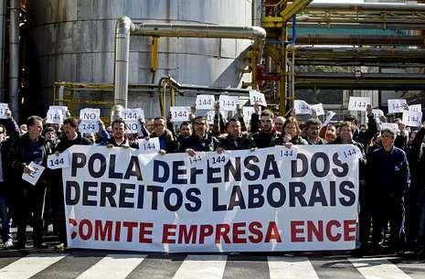 Los trabajadores se movilizaron estos días en la planta como medida de presión.