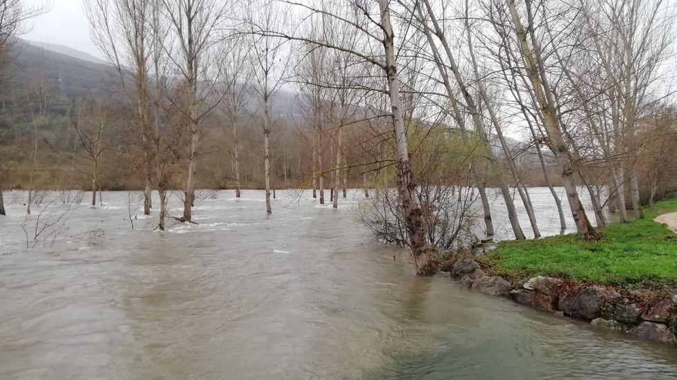 ASÍ HA CASTIGADO EL TEMPORAL A OURENSE.En O Barco, el río Sil baja con mucha agua (en la imagen, en la desembocadura del arroyo Mariñán)