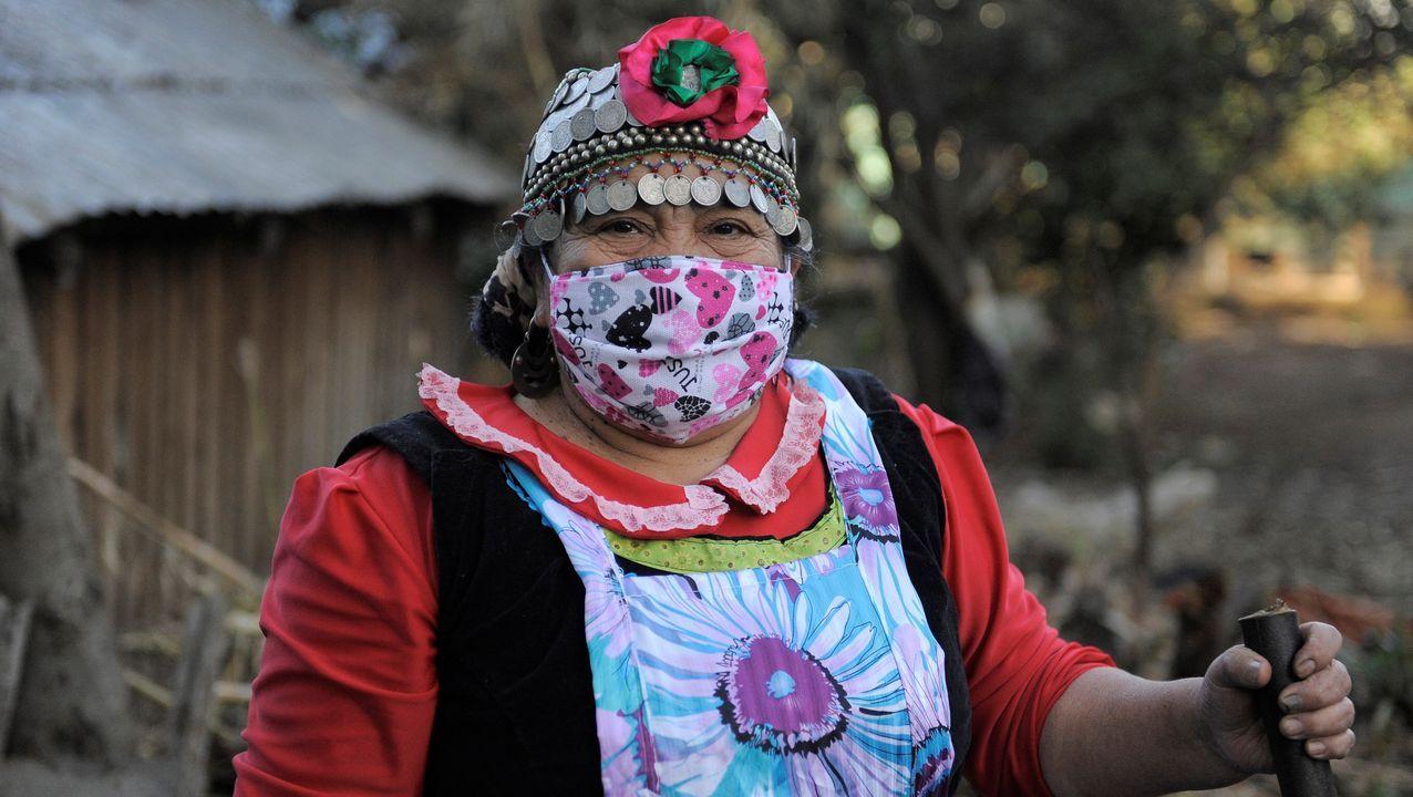 Una mujer indígena viste mascarilla protectora en una localidad chilena