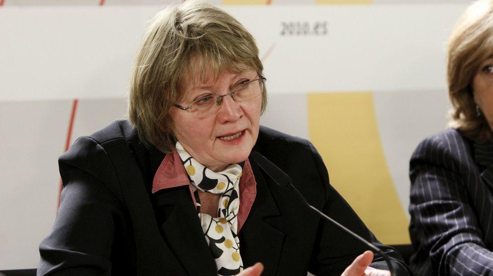 Eva Gabrielsson, viuda Stieg Larsson, el autor de la saga «Millenium» durante la presentación de uno de los libros de.