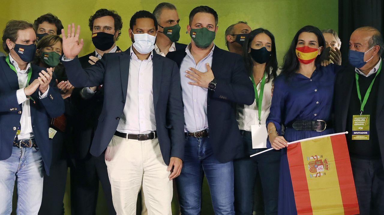 Ayuso comparece trasromper con Cs y convocar elecciones anticipadas en Madrid.Santiago Abascal e Ignacio Garriga celebraron los resultados electorales de Cataluña