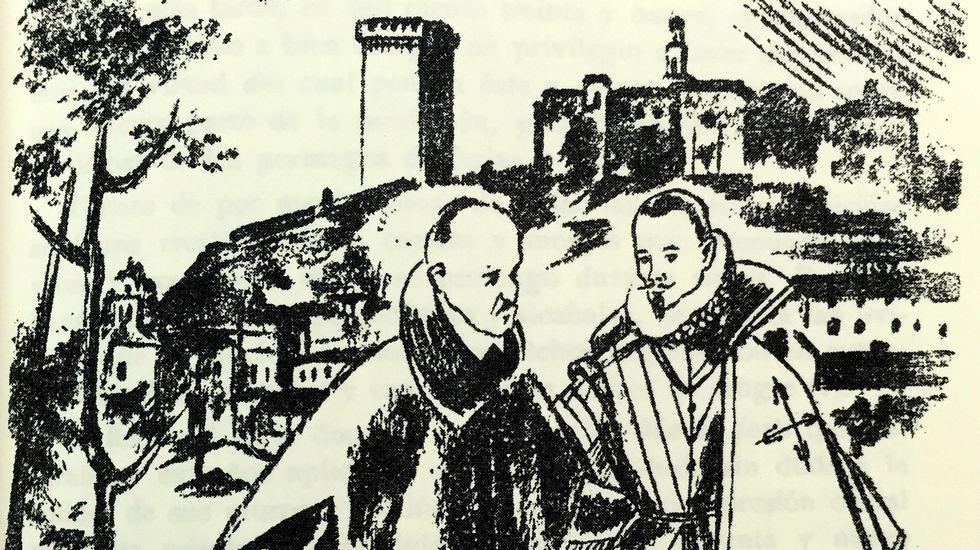 La vida del séptimo conde de Lemos en ilustraciones de 1948.Monumento al séptimo conde de Lemos en la plaza de la Compañía de Monforte.
