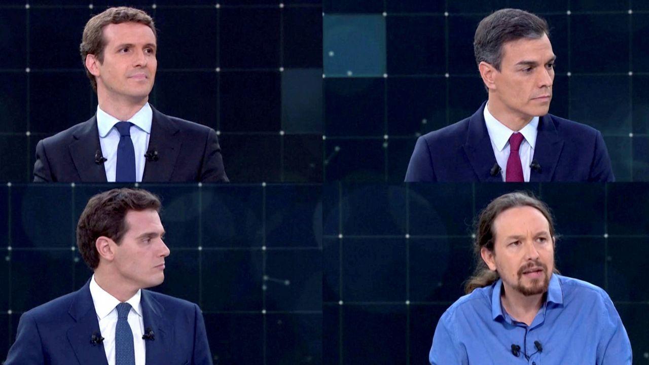Pablo Iglesias, Pedro Sánchez, Albert Rivera, Pablo Casado y Santiago Abascal, en imágenes de archivo