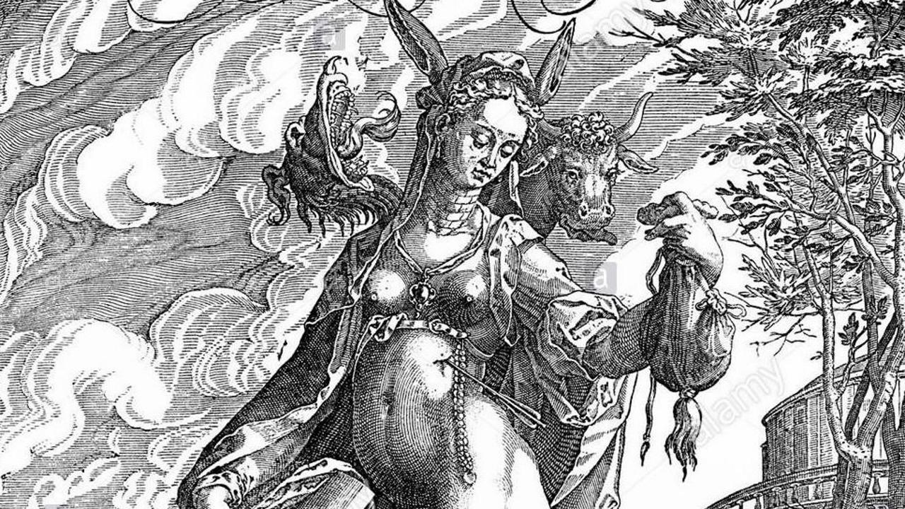 Detalle de una representación alegórica de la herejía del siglo XVI