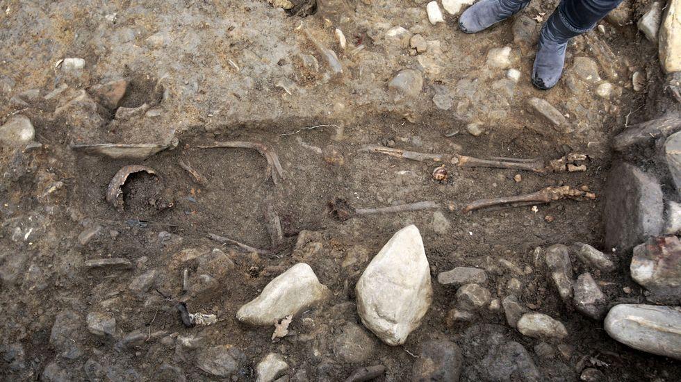 Los peores 14 kilómetros de carretera de España.Esqueleto achado nunha das tumbas escavadas no castro de San Lourenzo (Cereixa, Lugo)