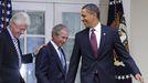 Clinton, Bush y Obama, en un acto en la Casa Blanca en el 2010