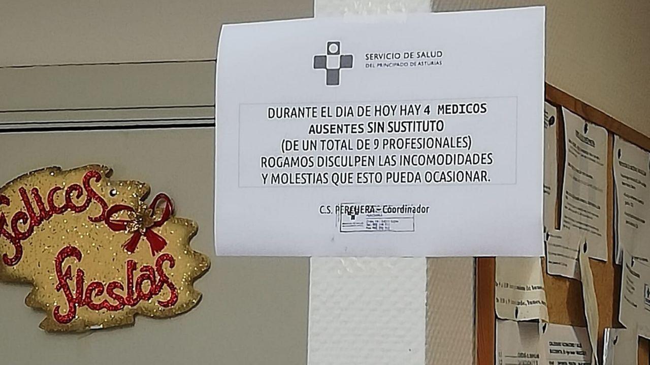 Nota anunciando la ausencia de los profesionales en el centro de salud