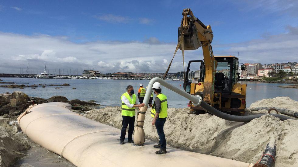 Sanxenxo estrena en España un sistema de contención de arena en Carabuxeira