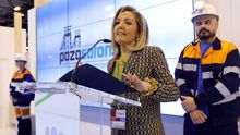 Teresa Mallada, durante su etapa como presidenta de Hunosa, en la presentación de las visitas guiadas al Sotón, en Fitur