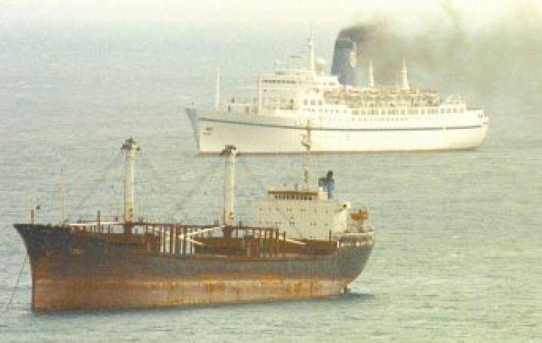 Un carguero y un crucero, a resguardo en la bahía de Fisterra