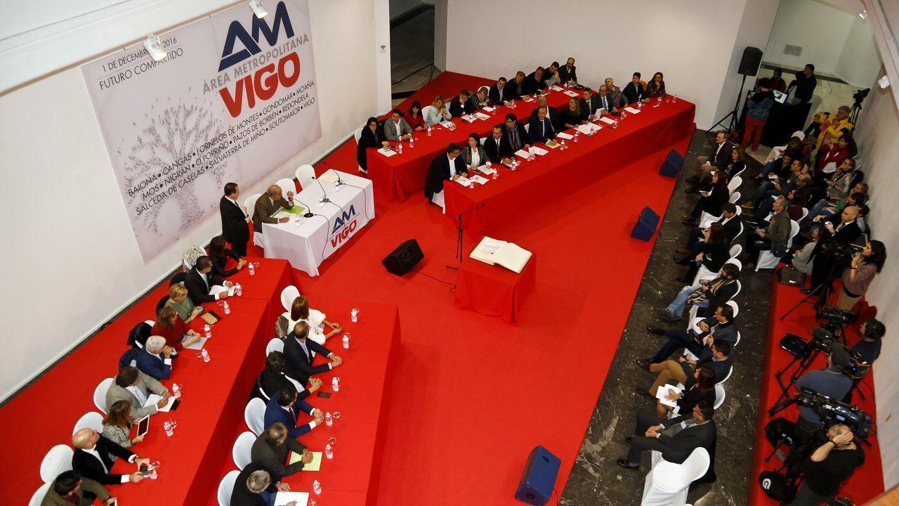 La nueva sede de la Diputación toma forma.López Font, en el medio en la imagen, en una foto de archivo de una sesión plenaria de enero de este año