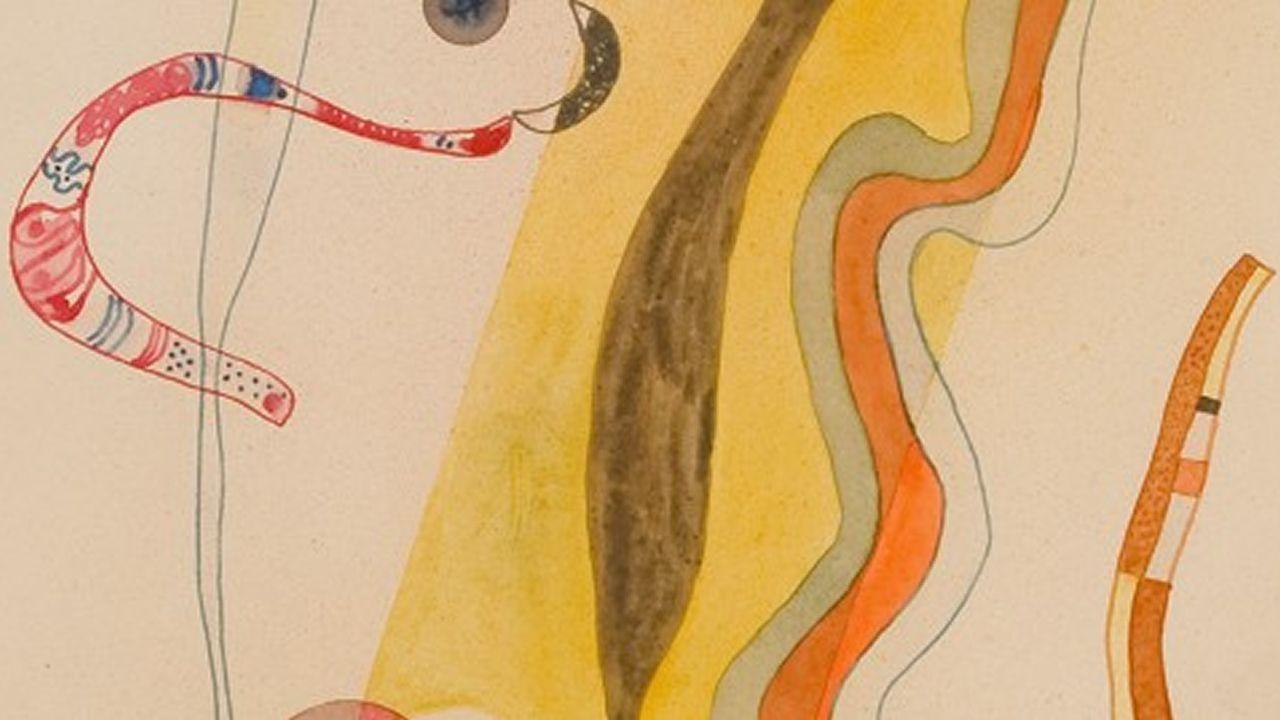 Un visitante observa la obra «En el óvalo claro», de Kandinsky