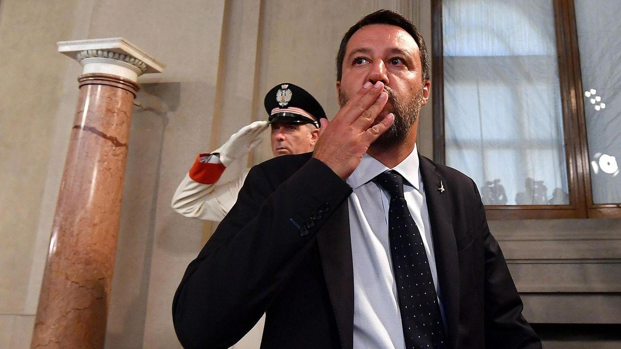 Salvini, a su salida de la reunión el jueves con el presidente Mattarella