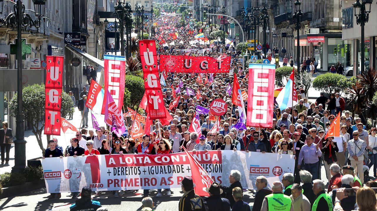 Los trabajadores esenciales: los protagonistas de la vuelta del 1 de mayo en A Coruña.Imagen de archivo de la manifestación del 1 de mayo del año 2019