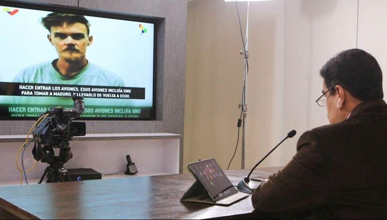 Maduro, durante la rueda de prensa con la declaracion de uno de los estadounidenses detenidos