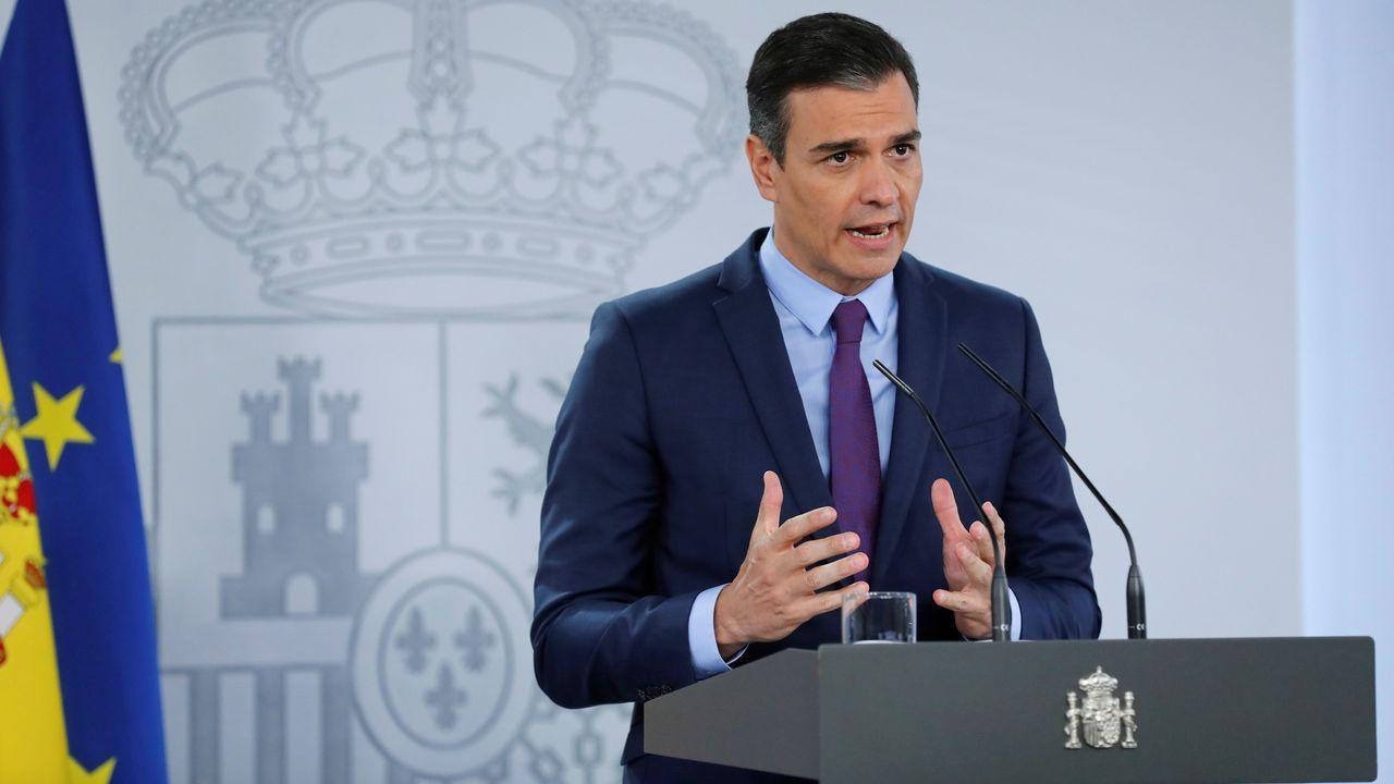 Pedro Sánchez comparece tras el Consejo de Ministros.Castropol