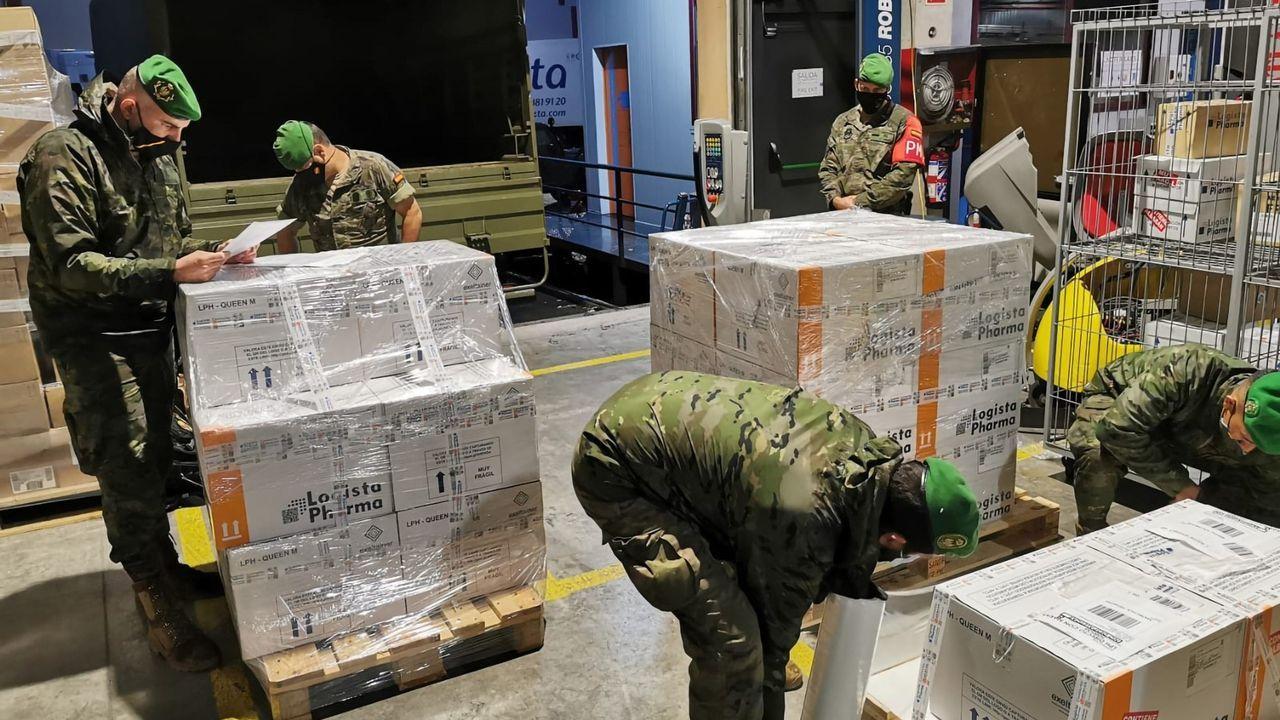 Miembros del Ejército durante el embarque ayer en Colmenar Viejo (Madrid) de vacunas de AstraZeneca para Canarias, Ceuta y Melilla.
