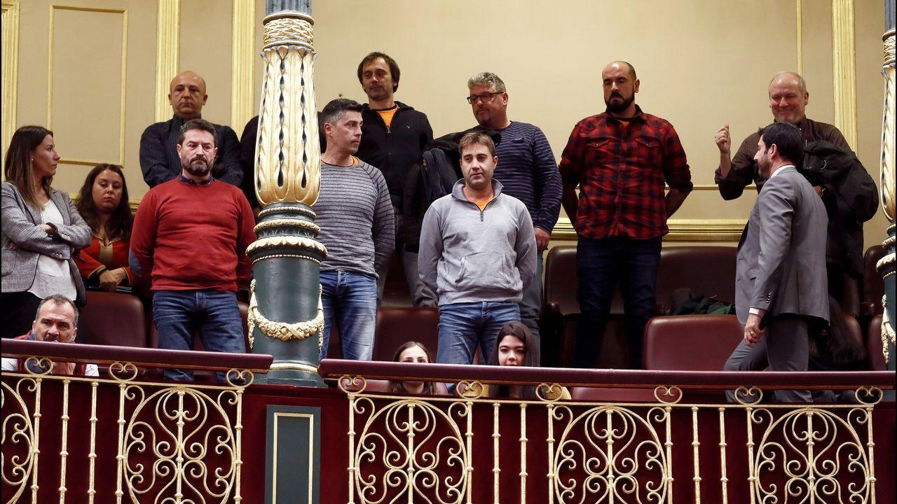Representantes del comité de empresa de Alcoa asisten a la sesión de control al Ejecutivo celebrada en el Congreso.
