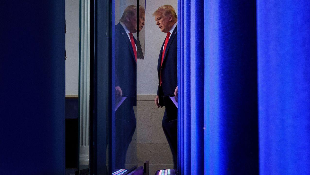 Donald Trump, este jueves, antes de comparecer ante la prensa en la Casa Blanca