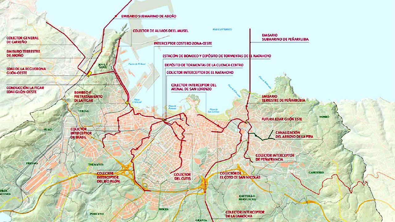 Mapa de la red de saneamiento en Gijón