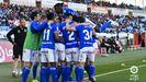 Gol Tejera Almeria Real Oviedo Juegos Mediterraneos.Los futbolistas azules celebran el gol de Tejera frente al Almería