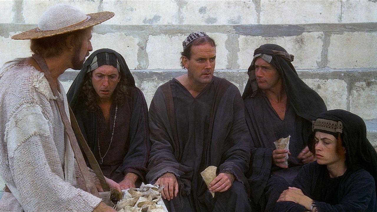 Miembros de los Ponty Phyton, en una escena de «La vida de Brian»